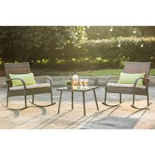 Patio Festival Wicker Outdoor 3-Piece Rocking Chair Set With Off-White  Cushion