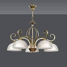 pendelleuchte in gold antik weiß 5 flammig glas schirm