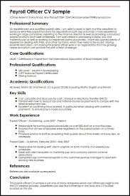 Payroll Officer Cv Sample Myperfectcv Rh Co Uk Clerk Resume Duties And Responsibilities