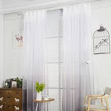 nibesser transparent farbverlauf gardine vorhang schlaufenschal deko für wohnzimmer schlafzimmer 245cmx140cm weiß und grau