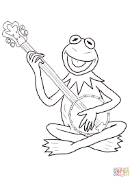 Click The Kermit Frog Playing Guitar Coloring Pages To View