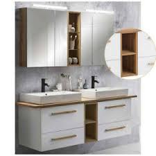 details zu badmöbel doppel waschtisch set weiß led spiegelschränke unterschrank badezimmer