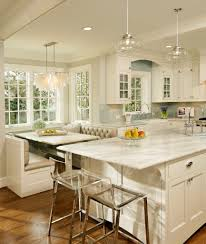 Kitchen Island Booth Ideas by Island Extended Bar Booth Seating Pretty Backsplash Chandelier