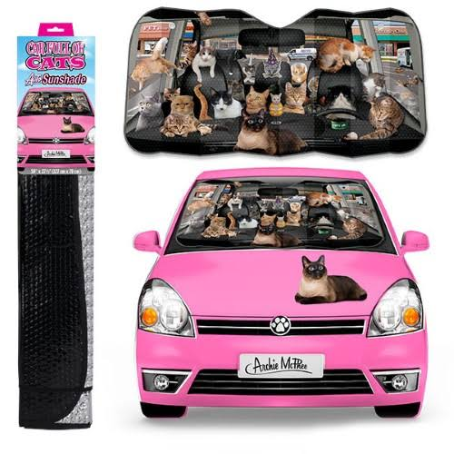 Archie McPhee Auto Sunshade Car Full of Cats