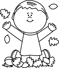 420x482 Black and White Boy Playing in Leaves Clip Art