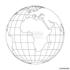 Outline Earth globe with map of World focused on Africa Vector