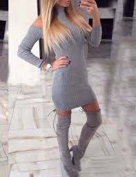 grey high neck cold shoulder sweater dress shein abaday