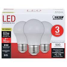 feit a15 60 watt led light bulb medium base 3 pack soft white