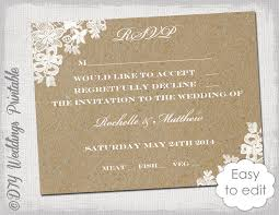 Wedding RSVP Template Rustic Lace Printable