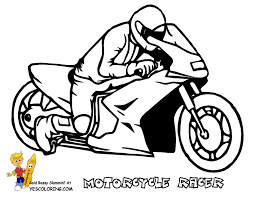 Easy Coloring Of Motorcycle Racer At YesColoring