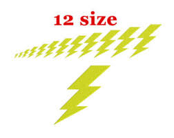 Lightning Bolt Embroidery Design Machine Super Hero Flash