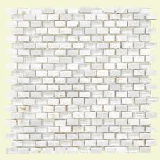 Jeffrey Court Mosaic Tile by Jeffrey Court Lightning White 15 25 In X 12 In X 8 Mm Glass