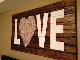 Love Wall Art With Reclaimed Wood And Fabric
