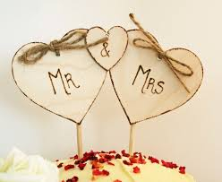 Mr Mrs Cake Topper Triple Heart Rustic Wedding Top