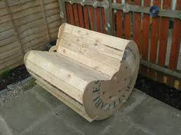 Upcycled Pallet And Cable Drum Rocking Chair Bench