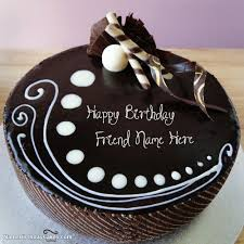Write name on Candy Chocolate Cake For Friends Happy Birthday Wishes