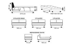 taille canapé dimension canape lit canapac en cuir tosca l dimensions taille