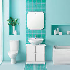 ikayaa modern unter waschbecken badezimmerschränke aufbewahrungsschrank mit türen badezimmer vanity furniture 2 layer organizer weiß