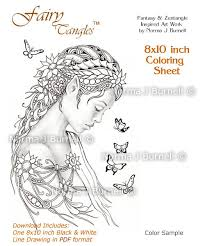 Dreamer Fairy Butterflies Tangles Digital Printable Coloring Sheets Gray Scale Images To Color Adult Pages Norma J Burnell