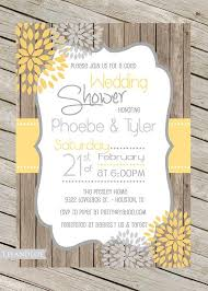 Rustic Wedding Shower Invitation Coed Bridal Engagement Couples Wood Yellow Grey Digital