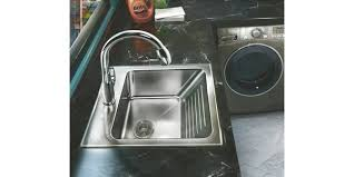 Laundry Sink With Washboard by New Stainless Steel Laundry Sink Features Integral Washboard Hvac P