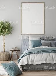 mockup poster schlafzimmer innenraumkonzept skandinavisches design stockfoto und mehr bilder anzünden