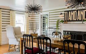 View In Gallery Fun Dining Room Design With Striped Wallpaper Hudson Interior