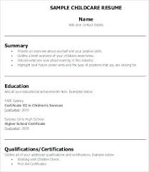 Child Care Sample Resume Template Worker Examples