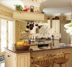 Wonderful Country Kitchen Design With Hanging Cookware And Marble Countertop Wooden Chairs Also Wall Decal