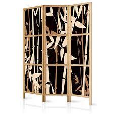 decomonkey paravent raumteiler trennwand raumtrenner wandschirme blumen schwarz bambus spanische wand deutsche vlies leinwand edler sichtschutz