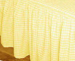 Bright Yellow and White Gingham Check Bedskirt Dustruffle