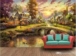 großhandel kundenspezifisches foto der tapete 3d rustikale waldhütte nachtsichtanstrich wohnzimmer wohnzimmerdekoration wand 3d muals wandpapier für