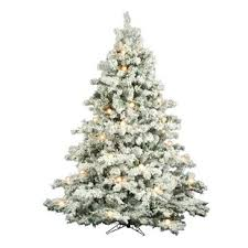 Flocked Alaskan 75 White Green Artificial Christmas Tree With 800 Incandescent Stand