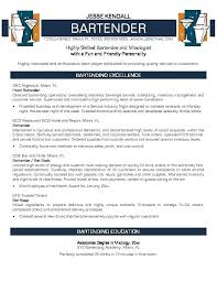 Bartending Resume Templates Template Creative Great Examples