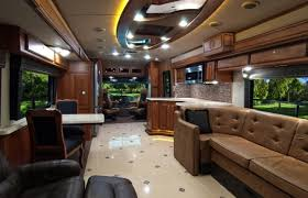 Luxury Rv Interior Black With Tv 1