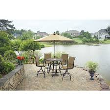 Allen And Roth Patio Furniture Covers by Shop Allen Roth Safford 40 In Brown Aluminum Frame Stone Top