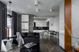 graue und weiße wohnung mit wohnzimmer offen zur küche