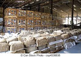 Rubber Bales In Warehouse Stock Photo