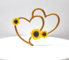 Sunflower Rustic Heart Cake Topper Wedding Hearts