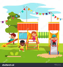 Clip Art Of A Collection Park Playground Children Playing