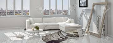 moderne architektur wohnzimmer mit dekorationen auf dem boden bereit für die anzeige