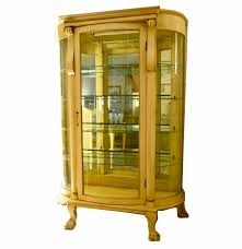 Curved Glass Curio Cabinet Antique by Vintage French Provincial Curved Glass Lighted Curio Cabinet Ebth