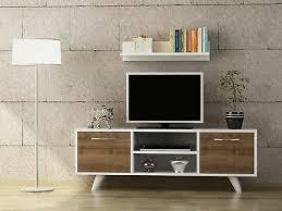 tv lowboard weiß wohnwand modern sideboard holz wohnzimmer fernsehtisch 3937