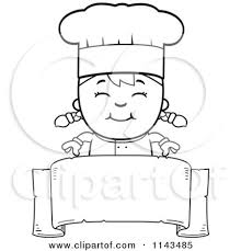 Cartoon Clipart A Black And White Happy Chef Girl Over A Blank Banner Vector Outlined Coloring Page by Cory Thoman