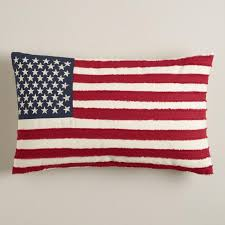 American Flag with Embroidered Stars Lumbar Pillow