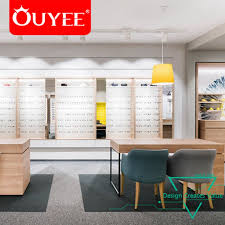 Creative Retail Display Fixture Wood Optical Shop Counter Design