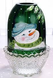 Vintage Fenton Fairy Lamps by Snowman