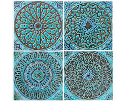 Etsy Bathroom Wall Art by 4 Moroccan Wall Hangings Ceramic Tiles Wall Decor Wall