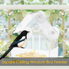 Clear House Window Bird Feeder Birdhouse With Suction Outdoor Garden