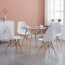 h j wedoo esszimmergruppe moderner glastisch rund esstisch mit 4 stühlen geeignet für esszimmer küche wohnzimmer transparent weiß